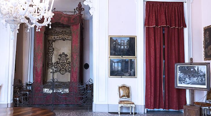 isola bella palazzo, borromean summer palace, napoleons bedroom, borromea palazzo, alcove room, general napoleon bonaparte, josephine de beauharnais