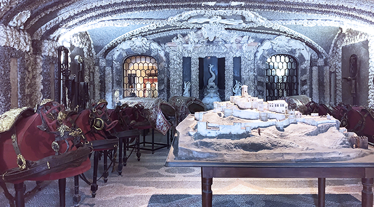 isola bella palazzo, borromean summer palace, grotto rooms, saddle and harness room, angera fortress architectural model,