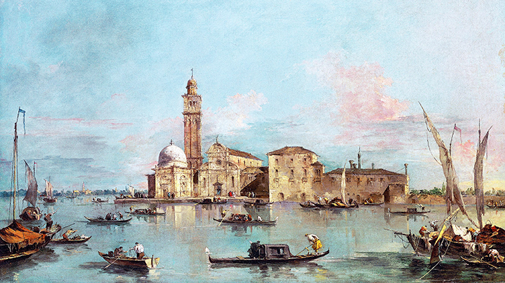 isola di san michele, abandoned venetian islands, venice italy, francesco guardi paintings, camaldolensian monastery, renaissance church, gothic bell tower, cemetary island, domed capella emiliani