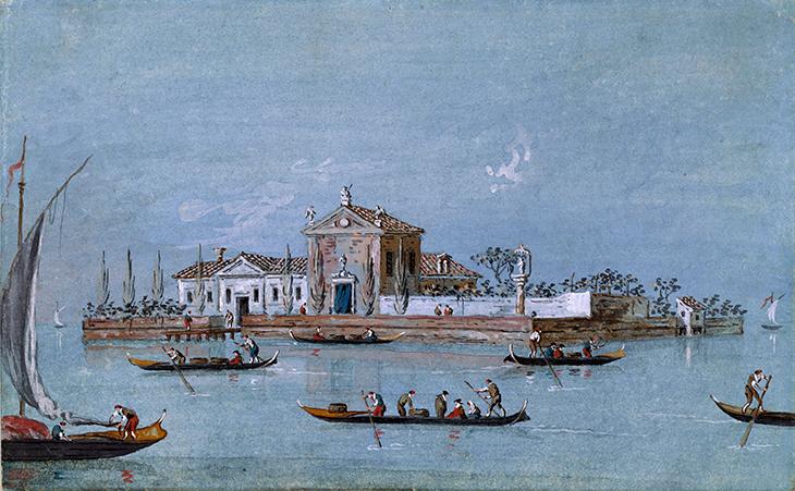 isola di san nicolo della cavana, madonna del monte island, madonna del rosario, venetian island, italy, italian artist, painter, giacomo guardi, watercolour, 18th century painting,