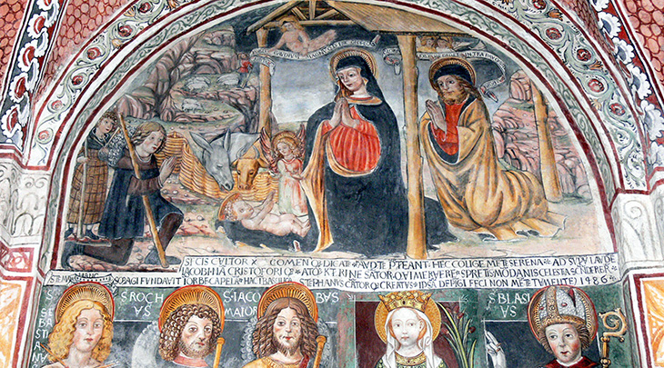 lake orta italy, isola di san giulio church, san giulio basilica, 1400s paintings, 15th century frescoes, nativity scene