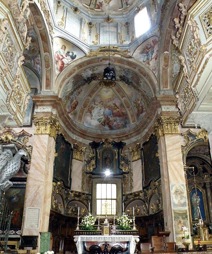 lake orta italy, isola di san giulio church, san giulio basilica, 1700s paintings, frescoes, roman art