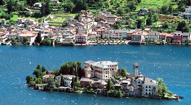 lake orta town, isola orta italy, san giulio monastery, orta san giulio village, italian lakes district,