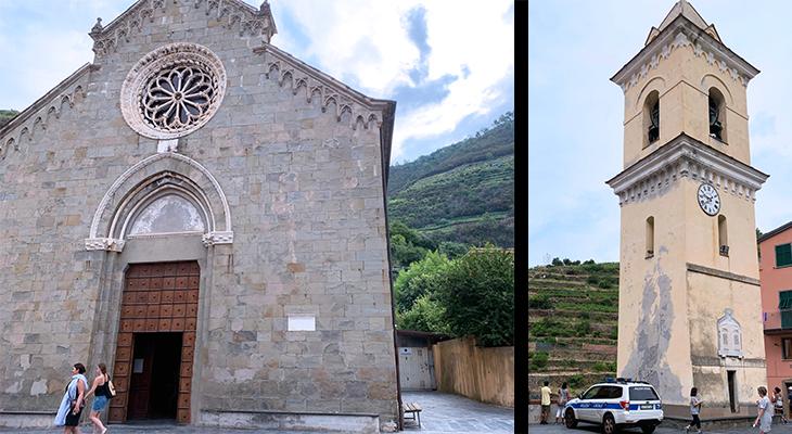 manarola harbor, cinque terre, italy, ligurian coast, piazza papa innocenco iv, san lorenzo church, bell tower, medieval buildings, unesco world heritage site,