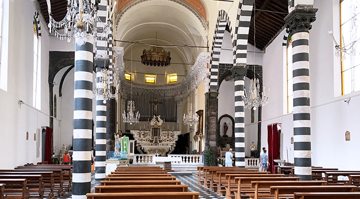 monterosso al mare, cinque terre, saint john the baptist church, chisa di san giovanni battista, medieval churches, piazza don giovanni minzoni, black and white marble, ligurian gothic,
