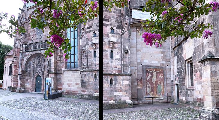 assumption of our lady cathedral, duomo maria assunta, dom maria himmelfahrt, bolzano church, waltherplatz cathedral, piazza walther von der vogelweide church, sandstone cathedral walls, fresco