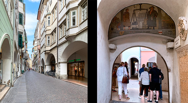 bolzano arcades street, arcades house close up, house fresco mural, arcade home courtyard, south tyrol, bozen italy