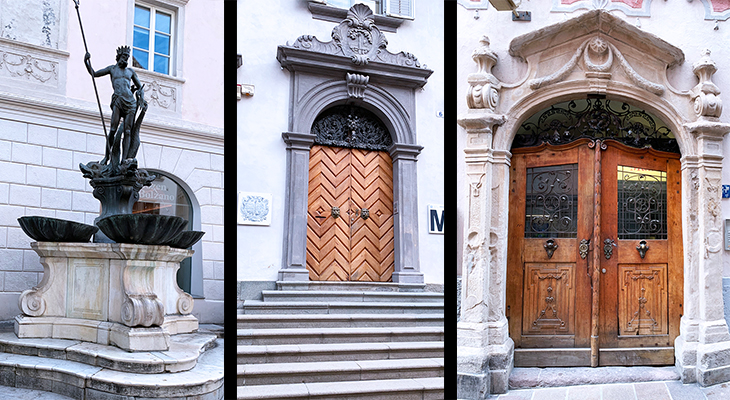 neptunes fountain, gabelwirt, innkeeper with fork, bolzano italy, piazza delle erbe statue, bozen historic attractions, old doors, antique doors