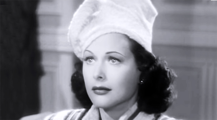 hedy lamarr, austrian american actress, vintage womens hats, hat fashions, movie costumes, 1940s movie fashions, millinery, 1940s films, dishonored lady, pillbox hat, 1940s hat styles,