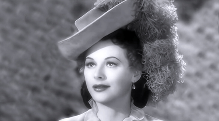 hedy lamarr, austrian american actress, vintage womens hats, plumed hat fashions, movie costumes, 1940s movie fashions, millinery, 1940s films, the strange woman, suiter hat, victorian riding hat,