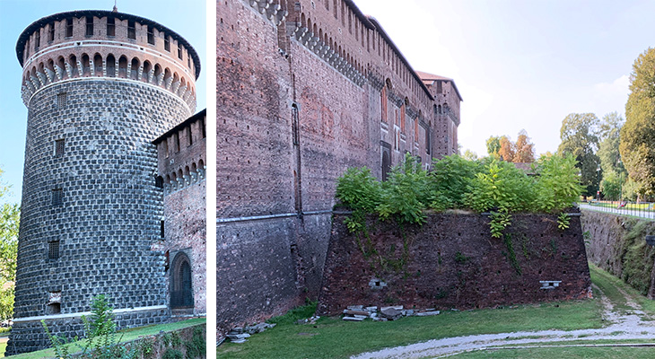 sforza castle, castello sforzesco, milan italy castle, francesco i sforza castle, medieval round towers, moat, castle wall, things to see in milan, what to do in milan