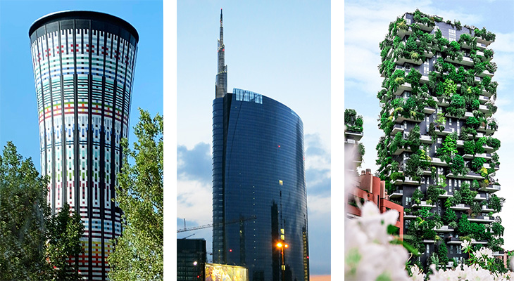 milan italy, rainbow tower, torre arcobaleno, ceramic tiled tower, unicredit tower, led spire, tallest building in italy, bosco vertical towers, green tower, modern milan towers, things to see in milan