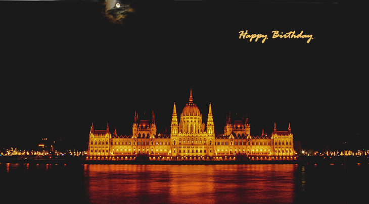happy birthday wishes, birthday cards, birthday card pictures, famous birthdays, parliament building, moon, budapest, hungary, city lights, gothic architecture