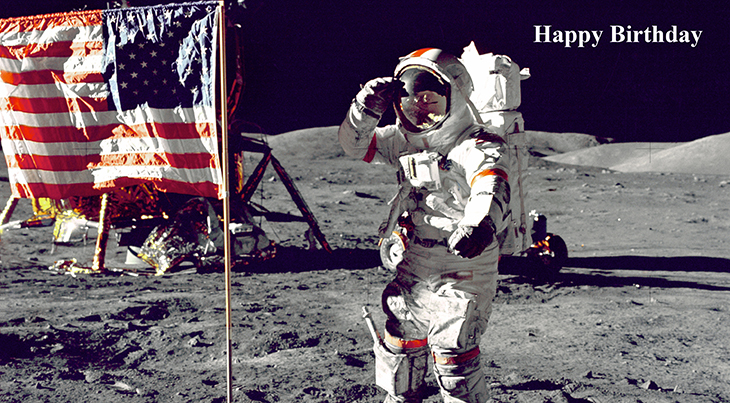 happy birthday wishes, birthday cards, birthday card pictures, famous birthdays, outer space, the moon, astronaut, american flag, cernan jump