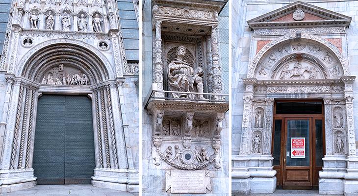 como cathedral, duomo di como, cattedrale di santa maria assunta, como church main entrance, pliny the younger statue, church doors, lake como, italy, things to see in como, what to do in como