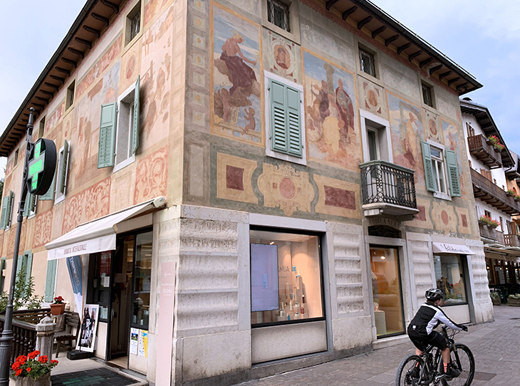 international pharmacy building, frescos, cortina dampezzo, northern italy, italian alps, dolomites