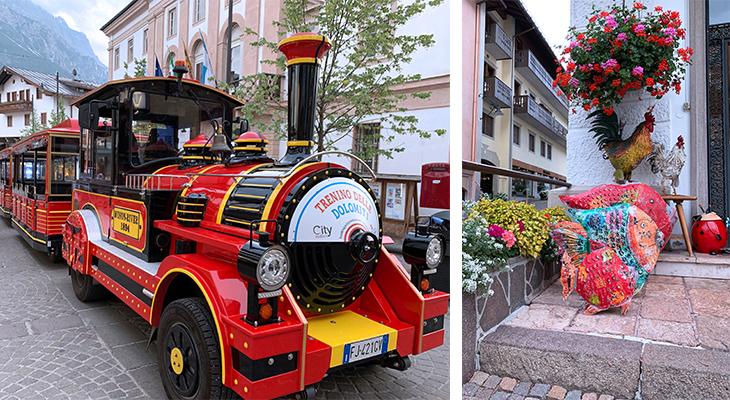 cortina dampezzo, corso italia street, train, flowers, dolomites, northern italy, italian alps, resort town,