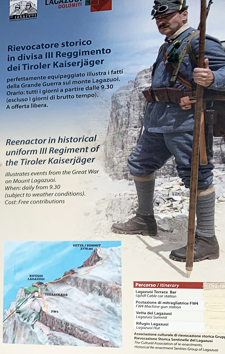 lagazuoi mountains, dolomites, italian alps, northern italy, wwi soldier reenactor poster