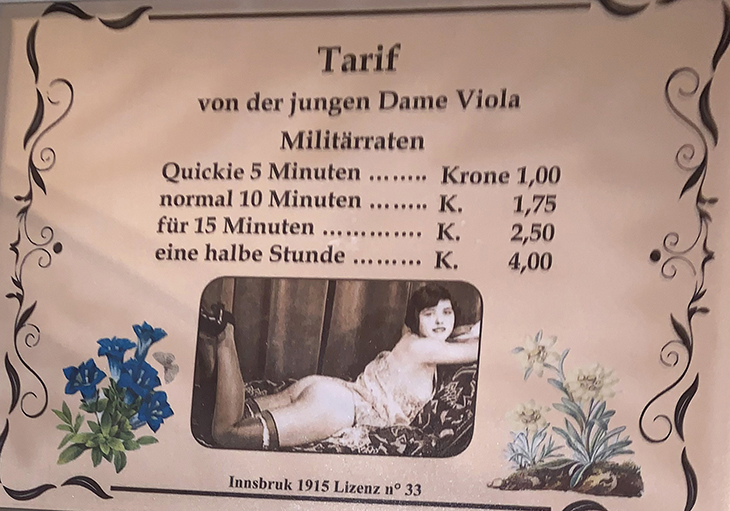 lady violas rates sign, the great war museum, wwi museum, lagazuoi mountain, northern italy, italian alps, dolomites, prostitutes during wwi