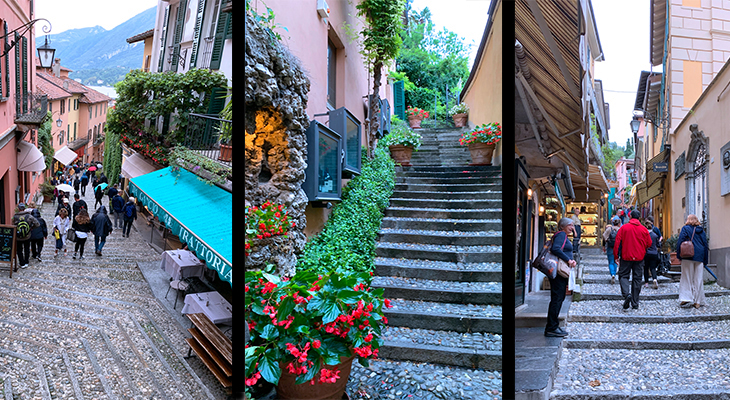 bellagio italy, lake como villages, northern italy towns, hilly streets, flowers,