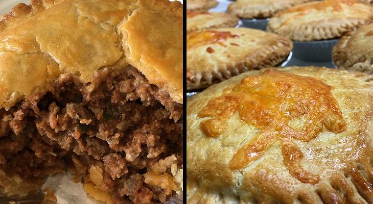 hamilton meat pie co, ground beef meat pies, beef and gravy pie, flaky pie crust, beef pies, hamilton ontario pie company