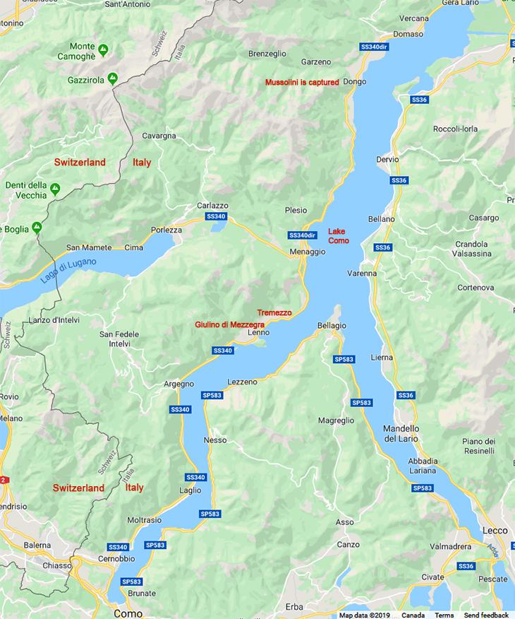 lake como map, italian lakes, northern italy, tremezzo, giulino di mezzegra, dongo, mussolini at lake como, bellagio italy,