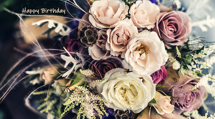 happy birthday wishes, birthday cards, birthday card pictures, famous birthdays, pink flowers, peach roses, cream,