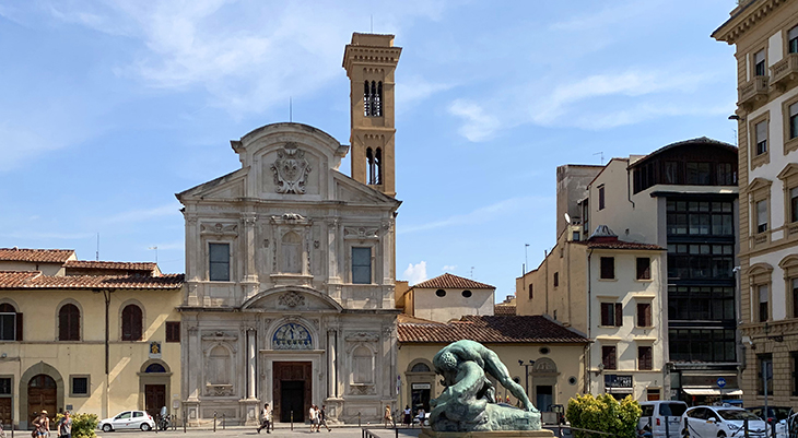 chiesa di san salvatore di ognissanti, florence church, church of san salvatore di ognissanti, piazza ognissanti, ognissanti plaza, hercules statue, nemean lion, florence italy, northern italy, firenze,