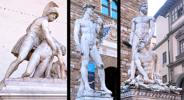 menelaus supporting patroclus, david statue, michelangelos david, hercules and cacussculpture, baccio bandinelli, florentine artists, sculptures, loggia dei lanzi, piazza della signoria statues, florence italy, northern italy, firenze,