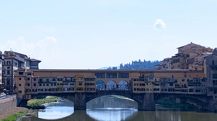 ponte vecchio bridge, florence bridges, medieval stone bridge, stone arch bridge, bridge with houses on it, florence italy, northern italy, firenze,