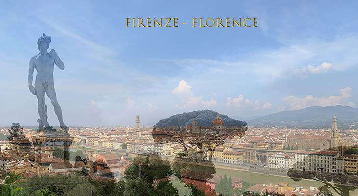 piazzale michaelangelo, statue of david, florence hills, northern italy, firenze