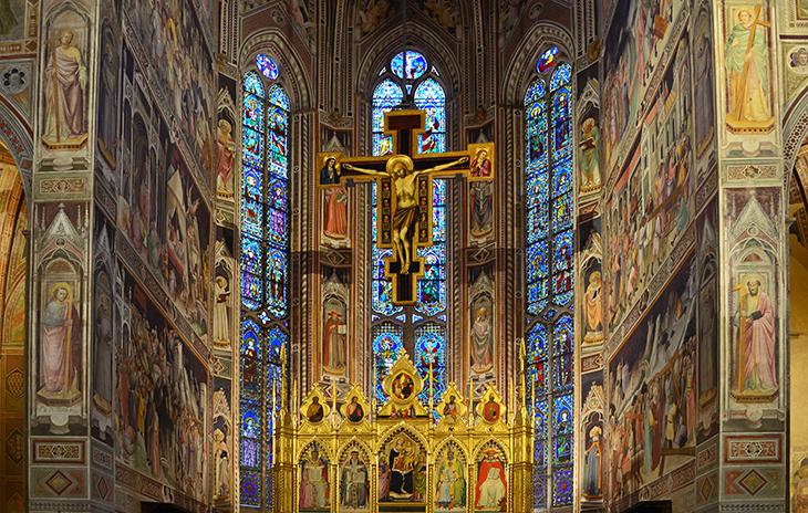 basilica of santa croce interior, basilica di santa croce, stained glass windows, mosaics, historic churches, florence church,