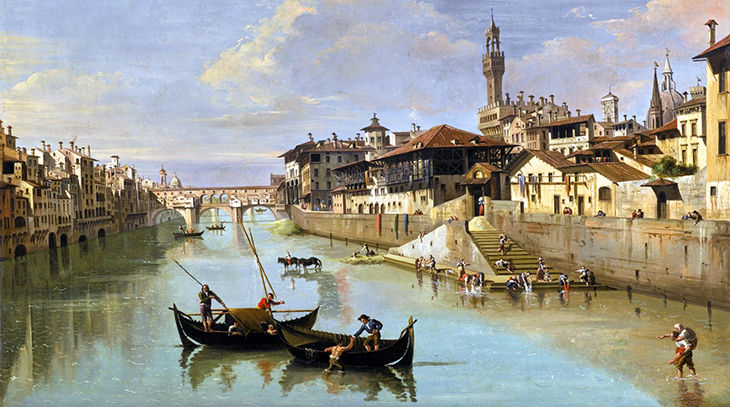 ponte vecchio bridge, florence bridges, medieval stone bridge, stone arch bridge, bridge with houses on it, historic oil paintings, giuseppe zocchi painting, florence italy, northern italy, firenze,