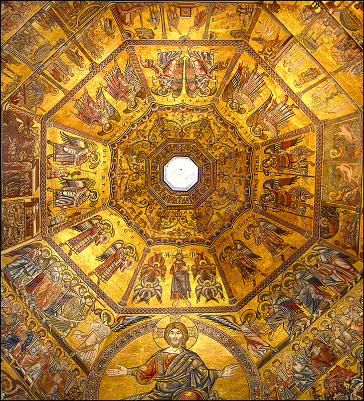 florence baptistery ceiling, florence cathedral complex, baptistery of st john, mosaic ceiling, saint john the baptist, piazza del duomo, giottos campanile, unesco world heritage site, florence italy, northern italy, firenze,