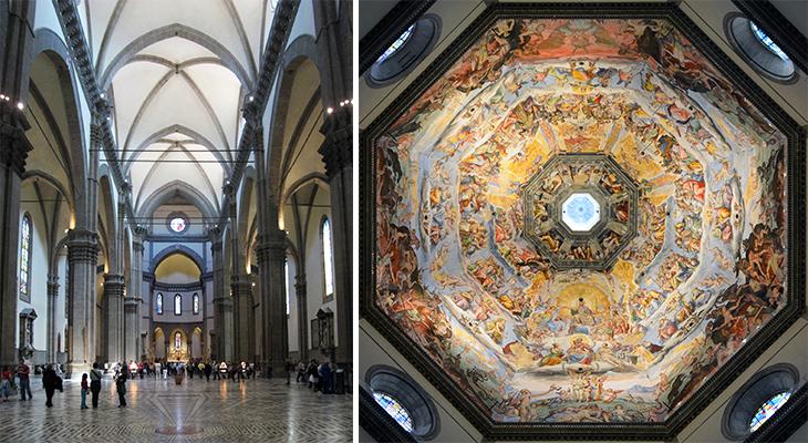 florence cathedral inside, le duomo interior, dome ceiling frescos, florence church, chiesa di santa maria maggiore, cathedral of santa maria del fiore