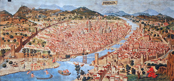 map of florence italy, florence historical painting, history of florence, veduta della catena, chain map, florence landmarks, le duomo, florence city walls, historic florence churches