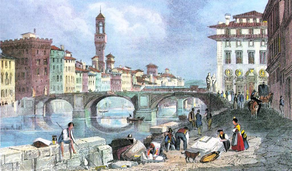 ponte santa trinita bridge, historic florence bridges, renaissance stone bridge, stone arch bridge, elliptic arch bridge, bartolomeo ammannati, arno river, florence italy, northern italy, firenze, old paintings