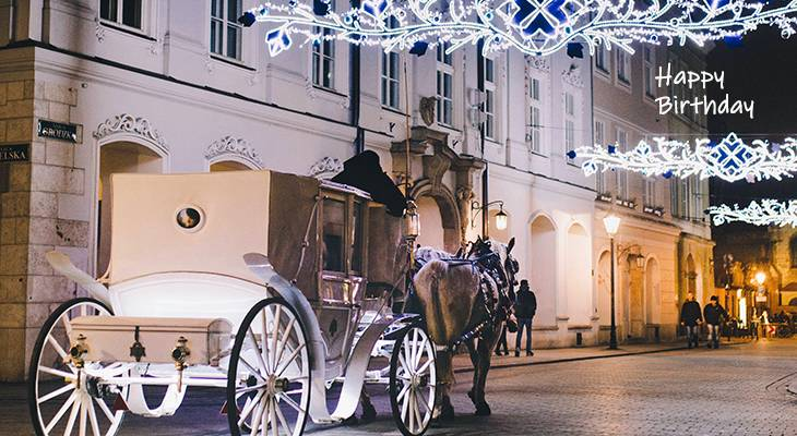 happy birthday wishes, birthday cards, birthday card pictures, famous birthdays, horse, carriage, lights, krakow, poland, christmas, holidays, festive