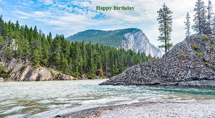 happy birthday wishes, birthday cards, birthday card pictures, famous birthdays, bow falls, banff, alberta, canada, nature, scenery, forest, river, mountains