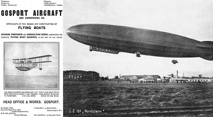 1920 inventions, gosport aircraft company, 1920 aeroplane, flying boats, early commercial airplanes, zeppelins, rigid dirigibles, lz121 nordstern, 1920s advertisements, transportation, 1920 technology,