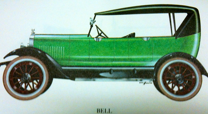 1920 automobile, 1920 car, green automobile, bell touring car, vintage automobiles