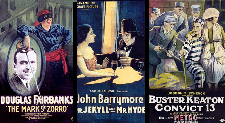 1920 movies, silent films, 1920s film stars, douglas fairbanks, the mark of zorro, john barrymore, dr jekyll and mr hyde, buster keaton, convict 13, 1920 movie posters