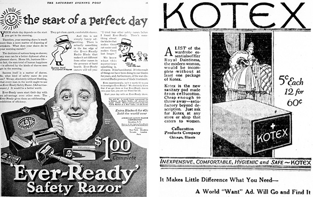 1920 inventions, american safety razor company, safety razor blades, shaving soaps, shaving foams, brushes, kotez brand napkins, menstrual pads, 1920s advertisements, 1920 technology,