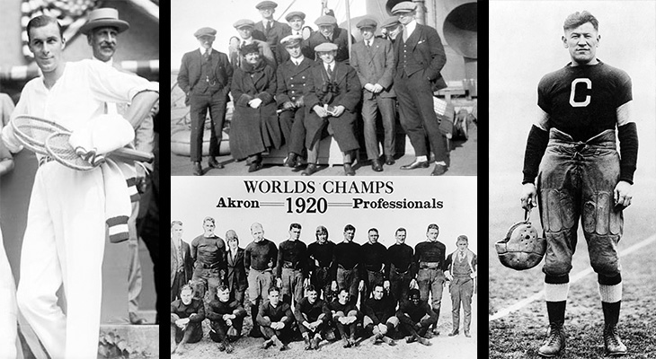 1920 sports, mens tennis player, bill tilden, 1920 olympics, ice hockey gold medal, winnipeg falcons hockey team, 1920 nfl team, akron pros, first nfl championship, jim thorpe, 1920s baseball players, apfa president