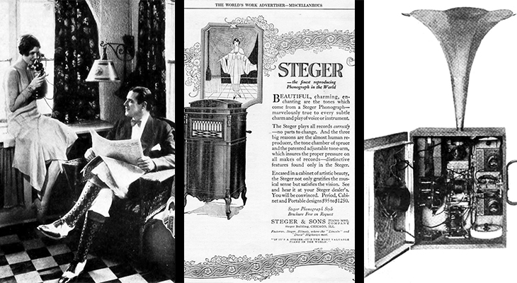 1920 communications, 1920 home telephone, 1920s advertisements, phonograph, victrola, portaphone radio, portable radio