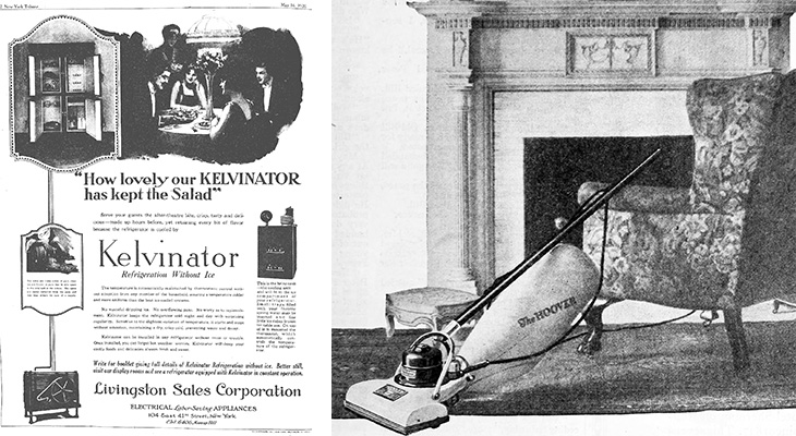 1920 inventions, 1920 kelvinator refrigerator, hoover vacuum, 1920s advertisements, 1920 household technology, kitchen, house cleaning