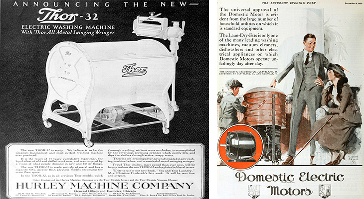 1920 inventions, clothes washing machines, wringer washer, thor 32 electric washing machine, domestic electric motors, laun dry ette clothes washer, 1920s advertisements, 1920 technology,