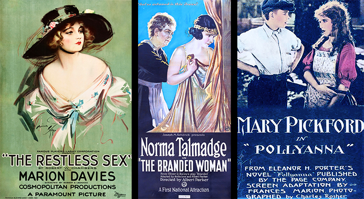 1920 movies, silent films, 1920s film stars, american actresses, mary pickford, pollyanna, norma talmadge, the branded woman, marion davies, the restless sex, 1920 movie posters