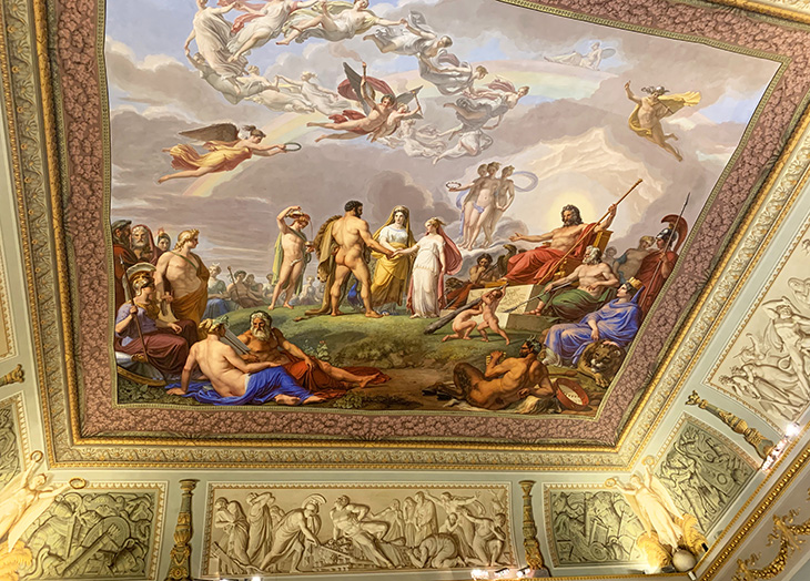 pitti palace, ceiling frescos, the wedding of hercules and ebe, pietro benvenuti, hercules room, hall of hercules, renaissance art, historical paintings, palazzo pitti, medici palace, florence italy, firenze, italian castles,