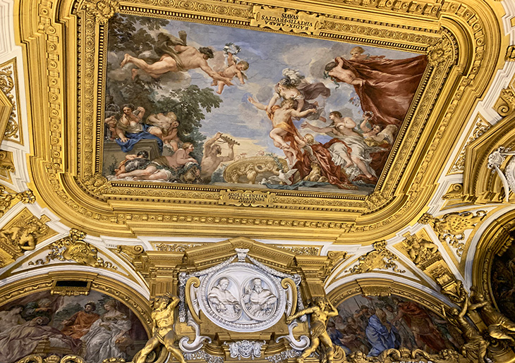 pitti palace, ceiling frescos, venus room, medici prince torn from arms of venus by minerva, pietro da cortona, baroque painter, renaissance art, historical paintings, palazzo pitti, medici palace, florence italy, firenze, italian castles,